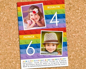 Building Bricks Combined Birthday Party Photo Invitation, Building Block Party Invite, Sibling - DIY Printable || Rainbow My Mod Blocks Duet
