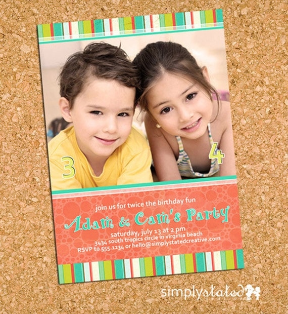 Preppy Caribbean | custom kids photo invitation, combined joint party picture invite - Printable Digital File, Print Service Available