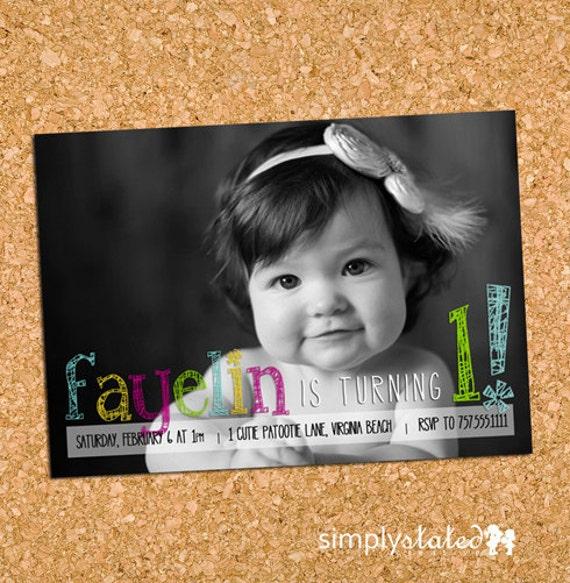 Bright Pencil   custom kids photo birthday party invitation, first birthday picture invite - Printable Digital File, Print Service Available