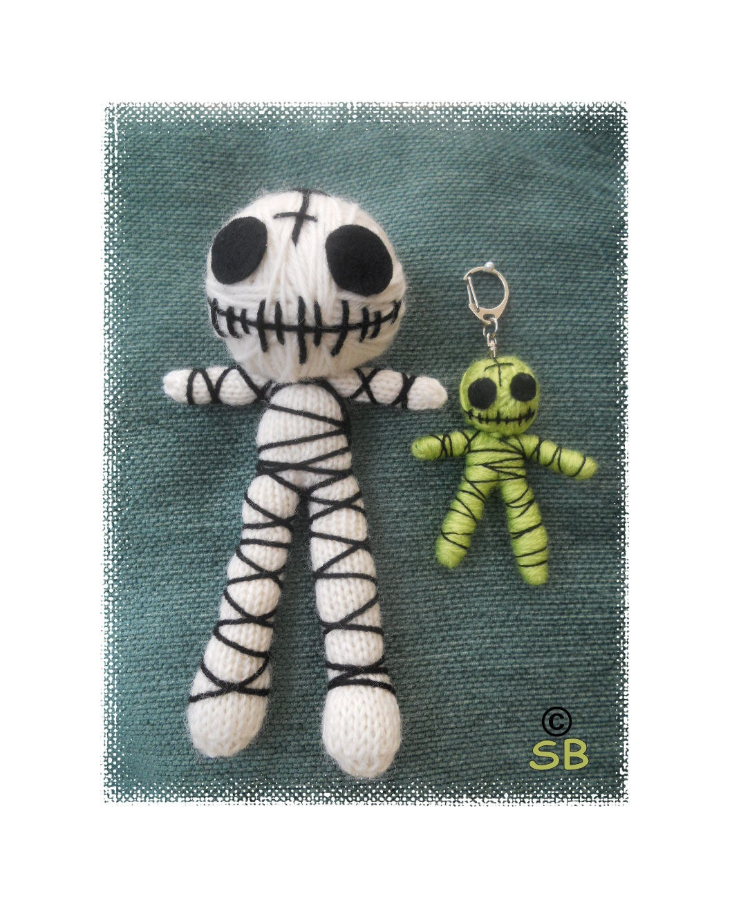 Knitting Pattern Voodoo Doll : Knitted Mummy Voodoo Doll and Key ring : Pattern only
