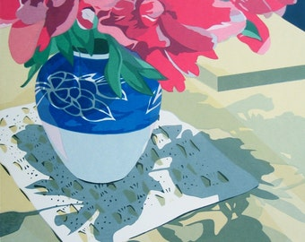 Pink Peonies, limited edition serigraph