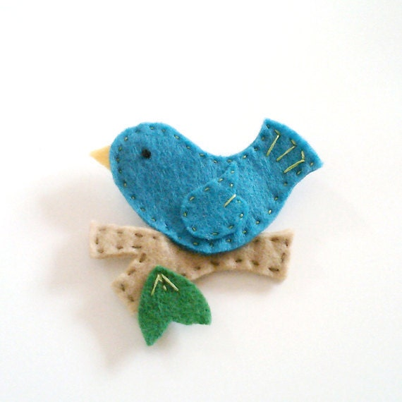 turquoise bird on a branch felt pin brooch hand stitched accessory