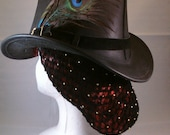 Black Snood with Gold Beads