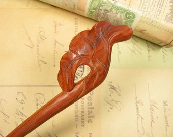 Mahogany Wood Hair Stick - Summer Lotus Blossom