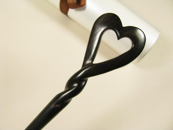 Exquisite Ebony Wood Hair Stick - Heart