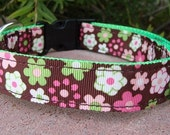 """1"""" Adj. Quick Release Dog Collar - Blooming  - Sm,Med or Lge (very limited quantity of trim)"""