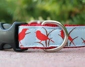 "Dog Collar Red Bird 1"" width side release buckle adjustable - sister ribbon also in Pink or Blue Birds"