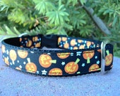 "Sale Halloween Dog Collar 1"" side release buckle Pumkins Black - very limited ribbon"