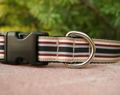 """Sale Dog Collar Preppy Stripe 1"""" wide adjustable side release buckle / martingale style is cost upgrade"""