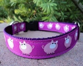"""Dog Collar Pink Piggy 1"""" wide side release adjustable buckle - martingale style is cost upgrade"""