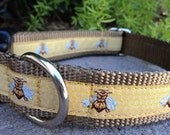 """Dog Collar Bee on Honeycomb 1"""" Quick Release buckle 1"""" wide  - Ribbon for only one more collar no martingale"""