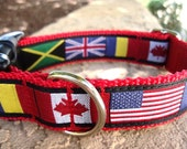 """Dog Collar World Flags 1"""" wide Quick Release buckle adjustable  - no martingale limited ribbon"""