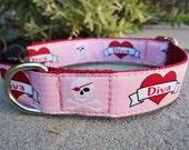 """Sale Dog Collar 1"""" adjustable side release buckle DIVA - martingale upgrade option"""
