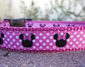 """Small Girl Dog Collar, Disney Minnie Mouse, Pink Dot 3/4"""" width Quick Release buckle -  see 1"""" width listing"""
