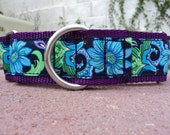 """Wide Martingale Collar 1.5"""" width Blue Passion - or 1"""" listing - or see  side release listing"""