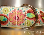"""Large Dog Collar Angel Wings 1.5"""" wide Quick Release buckle adjustable - No martingale,  limited ribbon"""