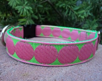 "Sale Dog Collar Pink Spots 1"" width adjustable side release buckle / no martingale limited Trim"