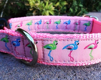 """Sale Girl Dog Collar Pink Flamingo 1"""" wide Side Release or Martingale collar"""