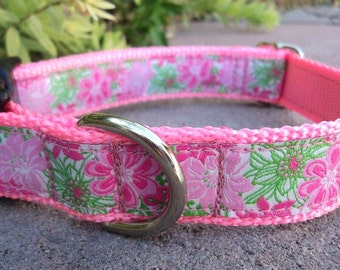 "Sale Girl Dog Collar Pink Blooms 1"" width in Quick Release or Martingale collar adjustable  -  limited ribbon"
