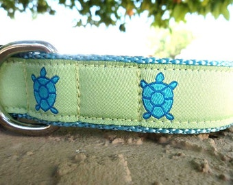 "Sale Dog Collar Turtle Blues 1"" wide adjustable side release buckle /  Limited ribbon"