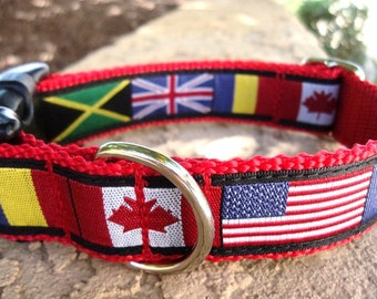 """Dog Collar World Flags 1"""" wide Quick Release buckle adjustable"""