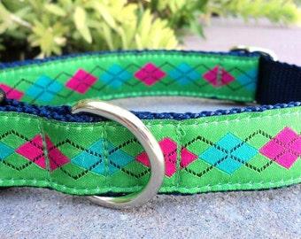 "Sale Dog Collar Preppy Lime Argyle 1"" width side release buckle adjustable - upgrade to martingale"