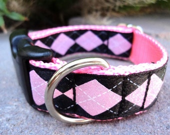 """Sale Dog Collar Pink Glitter Argyle 1"""" width Side Release buckle - martingale style is cost upgrade"""