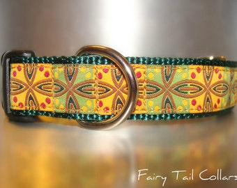 "Sale Dog Collar 1"" wide Quick Release buckle adjustable Vintage Blocks -  martingale style is cost upgrade"