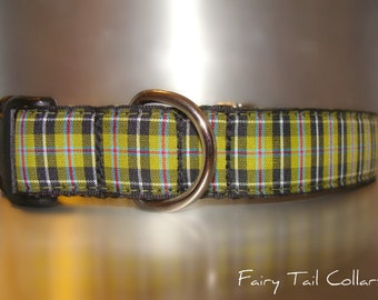 "Celtic Dog Collar 1"" wide Side Release or Martingale collar style Cornish National Tartan adjustable"