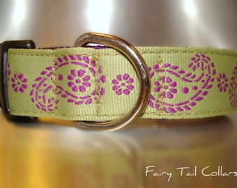 "Sale Dog Collar 1"" wide side release buckle adjustable Olive and Violet Paisley - very limited ribbon - no martingale"
