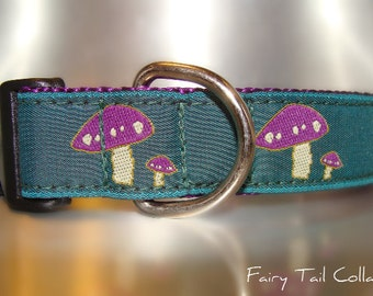 """Sale Dog Collar Purple Mushrooms Emerald 1"""" wide side release buckle - martingale style is cost upgrade"""