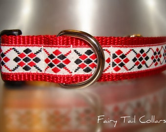 """Sale Dog Collar  3/4"""" or 1"""" Red & Black Argyle Quick Release adjustable- upgrade to a martingale style"""
