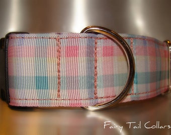 "Large Dog Collar Pink Plaid 1.5"" wide Quick Release buckle or Martingale collar style - see info in description below pics"