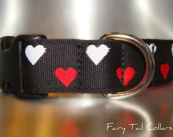 """Sale Dog Collar 1"""" width side release buckle Red & White Hearts adjustable  - martingale style is cost upgrade"""