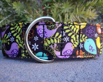 "Large Dog Collar 1.5"" width Martingale collar or Side Release buckle style Birds in Ferns"