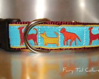 """Sale Dog Collar 1"""" width Side Release buckle or Martingale collar Follow the Dogs S-XL"""
