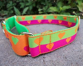 "Sale Martingale Collar Hearts Orange 1"" width adjustable collar - or side release buckle listing"