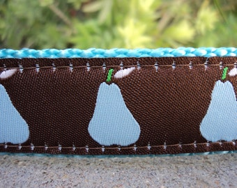 "Sale Dog Collar Blue Pear 1"" width Quick Release buckle adjustable - No martingale, limited ribbon"