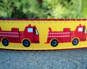 "Sale Dog Collar Fire Truck 1"" wide Side Release buckle adjustable - no martingale limited, incl dogs neck measurement"