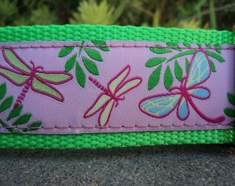 """Sale Large Dog Collar Pink Dragonfly 1.5"""" wide side release buckle - martingale style is cost upgrade"""
