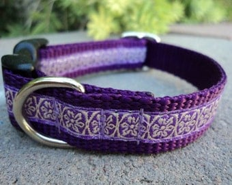 """Small Girl Dog Collar Lavender 3/4"""" width Quick Release buckle adjustable -  martingale collar style is cost upgrade"""