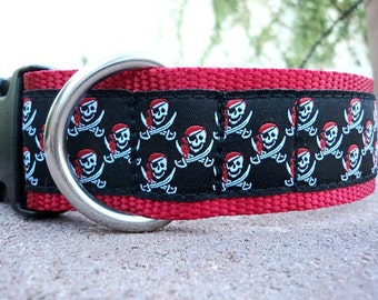 """Sale Large Dog Collar Buccaneer 1.5"""" width side release buckle - No martingale limited ribbon"""
