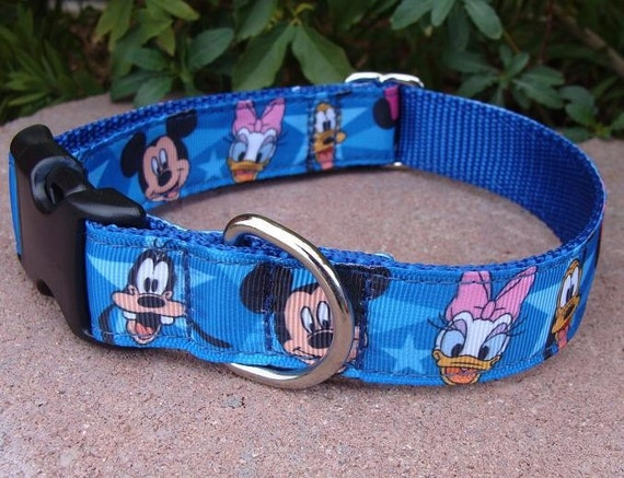 "Dog Collar Disney Characters 1"" wide Quick Release adjustable - no martingale limited ribbon"