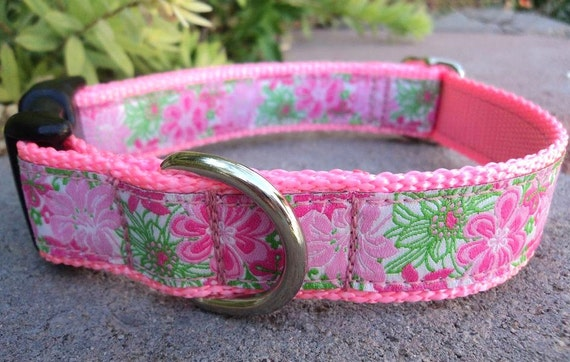 """Girl Dog Collar Pink Blooms 1"""" width in Side Release or Martingale collar adjustable  -  limited ribbon"""
