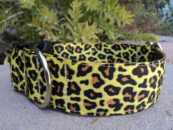 "Sale Large Dog Collar Leopard 1.5"" wide adjustable side release buckle - martingale style is cost upgrade"