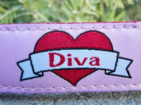 """Sale Girl Dog Collar 1"""" wide Quick Release buckle adjustable Diva - martingale is cost upgrade"""