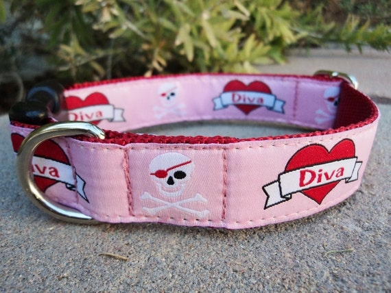 """Sale Dog Collar 1"""" wide Quick  Release buckle Diva - martingale is cost upgrade"""