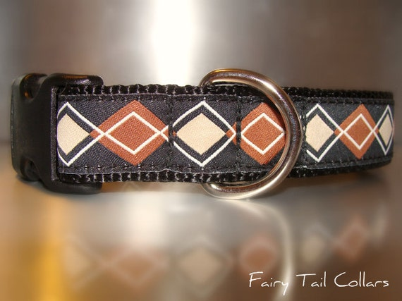 "Sale Boy Dog Collar 3/4"" or 1"" Quick Release buckle collar Bronze Argyle - martingale style is cost upgrade"