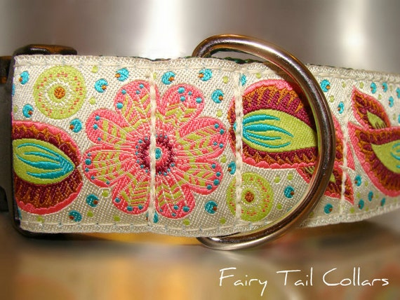 "Sale Large Dog Collar Angel Wings 1.5"" wide Quick Release buckle adjustable - No martingale,  limited ribbon"
