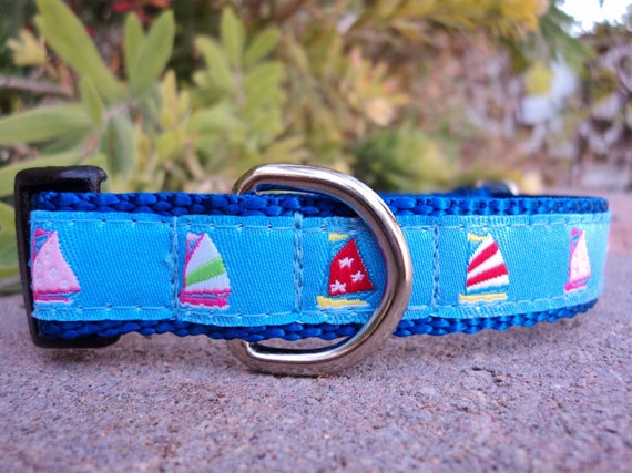 """Small Dog Collar Blue Sails 3/4"""" width adjustable side release buckle / or 1.5"""" listing link within"""